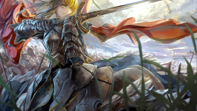 File:Konachan.com - 138932 archlich armor blonde hair fate stay night fate zero grass green eyes saber sword weapon-1600x900.jpg