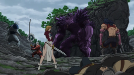 Dawn Roar fighting with Armored Giant