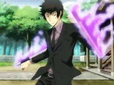 Hibari with his trademark tonfas