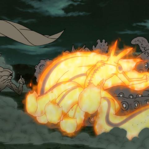 Naruto transformed into Kurama