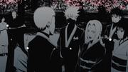 Naruto and Hinata are congratulated by Tsunade