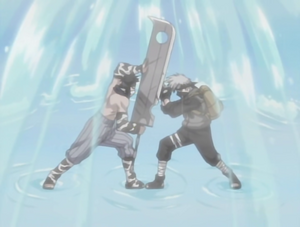 Kakashi And Zabuza Battling