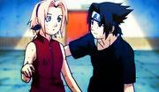 Sasuke thanks Sakura for helping carry him