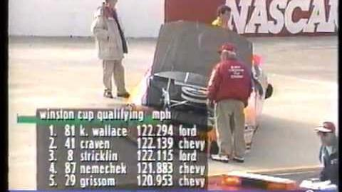 1996 NASCAR Winston Cup Series Food City 500 Qualifying Crashes