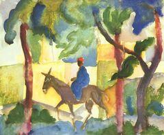 Man riding a dunkey