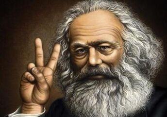 Karl marx peace sign 2