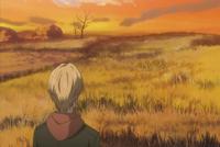 Natsume seeing nyanko doing something over the bush