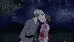 Hotarubi-gin kissing the mask2