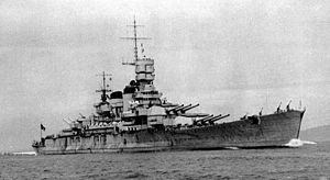 300px-Italian battleship Roma (1940) starboard bow view