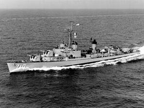 USS Gearing (DD-710) in the Mediterranean Sea in 1960