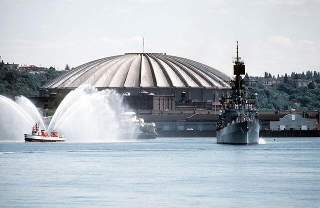 File:Kingdome behind USS Leahy (CG-16).jpg