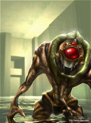 A Vortigaunt moves through a flooded room. This Vortigaunt has five eyes above the dominant eye instead of three, and is wearing a green collar around its neck.