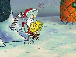 Squidward as Santa with SpongeBob