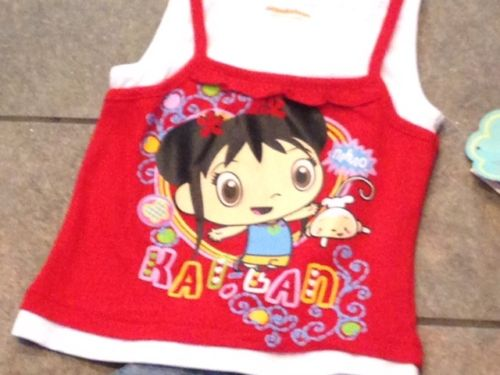 File:Ni Hao Kai Lan 2PC Shorts Outfit Shirt Top Red Blue Denim 2T 3T (2).jpg
