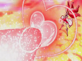 Doki Doki! Pretty Cure Cure Ace using the Ace Shot Bakyun attack