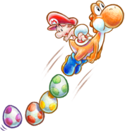 Yoshi's New Island - Yoshi & Mario Floating