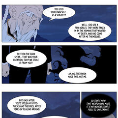 Frankenstein offers to return the Dark Spear.