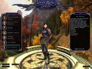 Selezione del personaggio in lord of the rings online.jpg