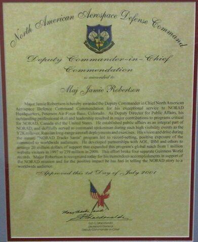File:– MAJ Roberston – NORAD Deputy CinC –Commendation - 2001.jpg