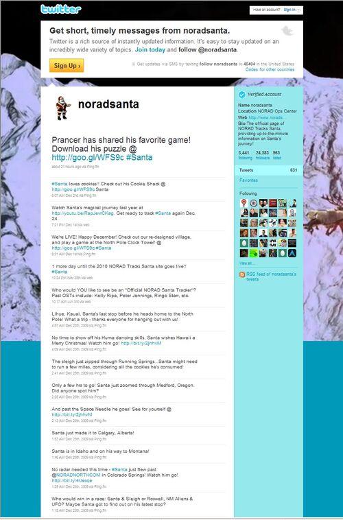 NORAD Tracks Santa - Twitter