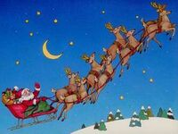 Santas Sleigh In Flight