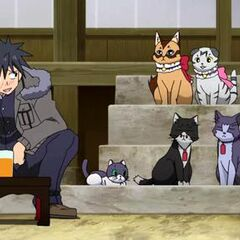 Junpei gets to meet the family cats of Ichinose clan's