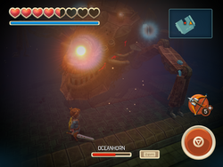 Hero hits Oceanhorn's leg