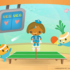 Tunip and Barrot compete in a Ping-Pong match.