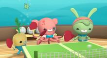 Tunip, Inkling and Tweak playing table-tennis