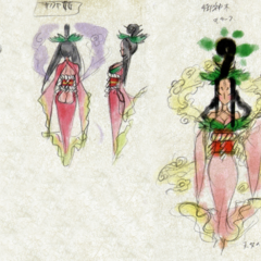 Coloured design sketches of Sakuya.
