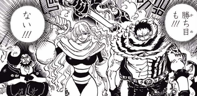 File:The Big Mom Pirates confronts the Straw Hat and Fire Tank Alliance.png