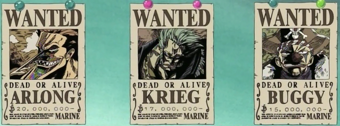 Krieg, Buggy, and Arlong's Bounty Posters