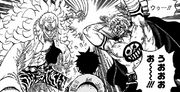 Doflamingo's Black Knight and Bellamy Attack Luffy.png