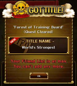 Forest of Training Whitebeard Title
