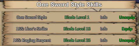 One Sword Style Skills