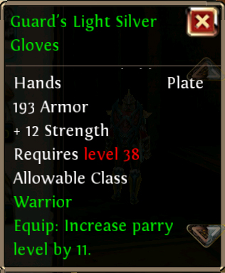 Guards Light Silver Gloves