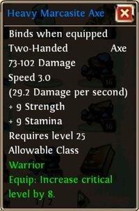 Heavy Marcasite Axe desc