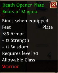 Death opener plate boots of magma