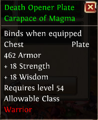 Death opener plate carapace of magma