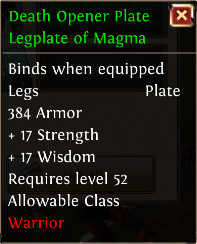 Death opener plate legplate of magma