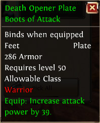 Death opener plate boots of attack