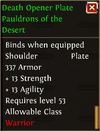 Death opener plate pauldrons of the desert