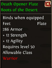 Death opener plate boots of the desert