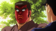 Takeo trying to protect an elementary school