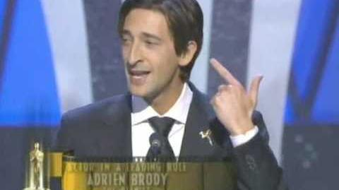 "Adrien Brody winning an Oscar® for ""The Pianist """