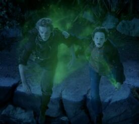 Fugitive Boy and Henry Mills use pixie dust in order to fly away from the Lost Boys