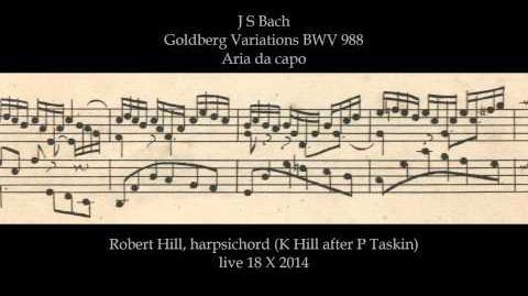 J S Bach Goldberg Variations BWV 988. Aria da capo. Robert Hill, harpsichord 18.10.14