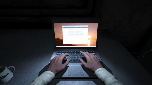 File:Waylon writing The Whistleblower document, before sending it to Miles.jpg