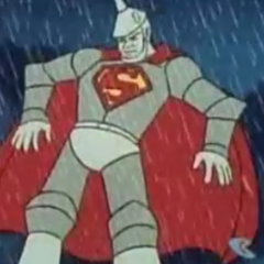 Superman turns his tin body into lead, which is rustproof.
