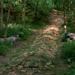 A destroyed Yellow Brick Road in <i>Return to Oz</i>.